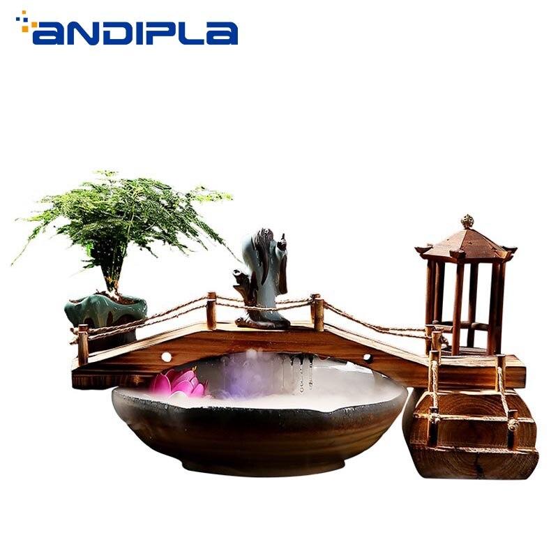 Ornamentos de Mesa Estilo Chinês Zen Feng Shui Fonte Fluindo Água Tanque Peixes Cerâmica Escritório Sorte Casa Decoração 110 v – 220