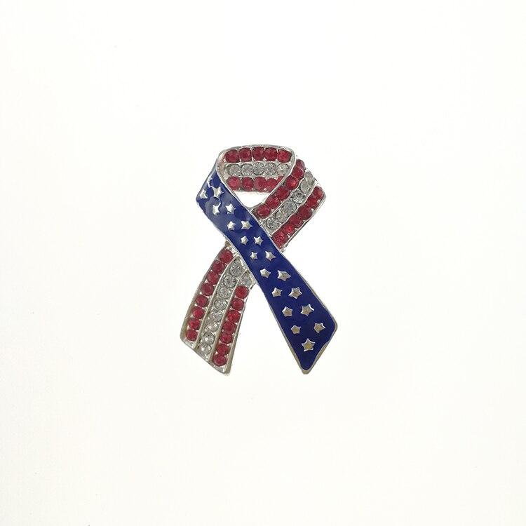 Broche ruban de sensibilisation au Cancer du sein étoile drapeau américain USA 4th de juillet journée des vétérans