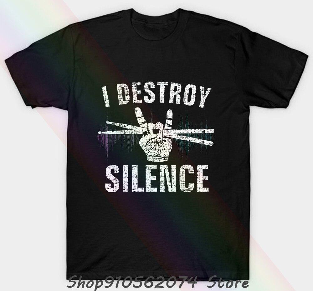 Vintage i destruir o silêncio tambores unissex camiseta engraçado presente do baterista do vintage t