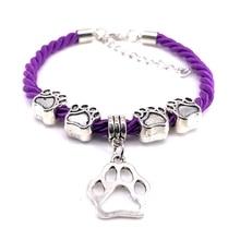 2018 nouveau tissé à la main 8 couleurs corde chaîne Bracelet pour femmes bijoux creux chien patte Bracelet à breloques pour les amoureux des animaux de compagnie en gros B021