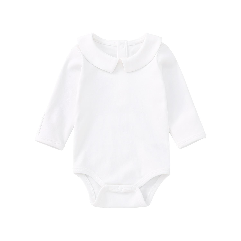 Pureborn Newborn Baby Bodysuit Solid Basic Baby Onesies Long or Short Sleeve Bodysuit Collared Organic Cotton Baptism Onesies