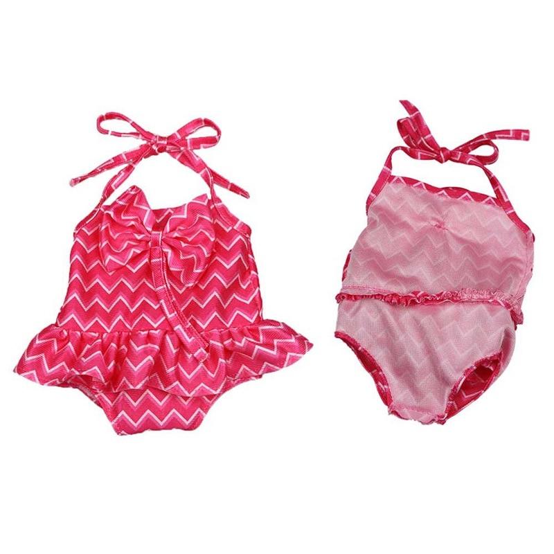 Traje de baño de una pieza de una sola pieza de onda roja rosa de moda vestido de traje de baño para niña ropa de muñecas americanas de 18 pulgadas