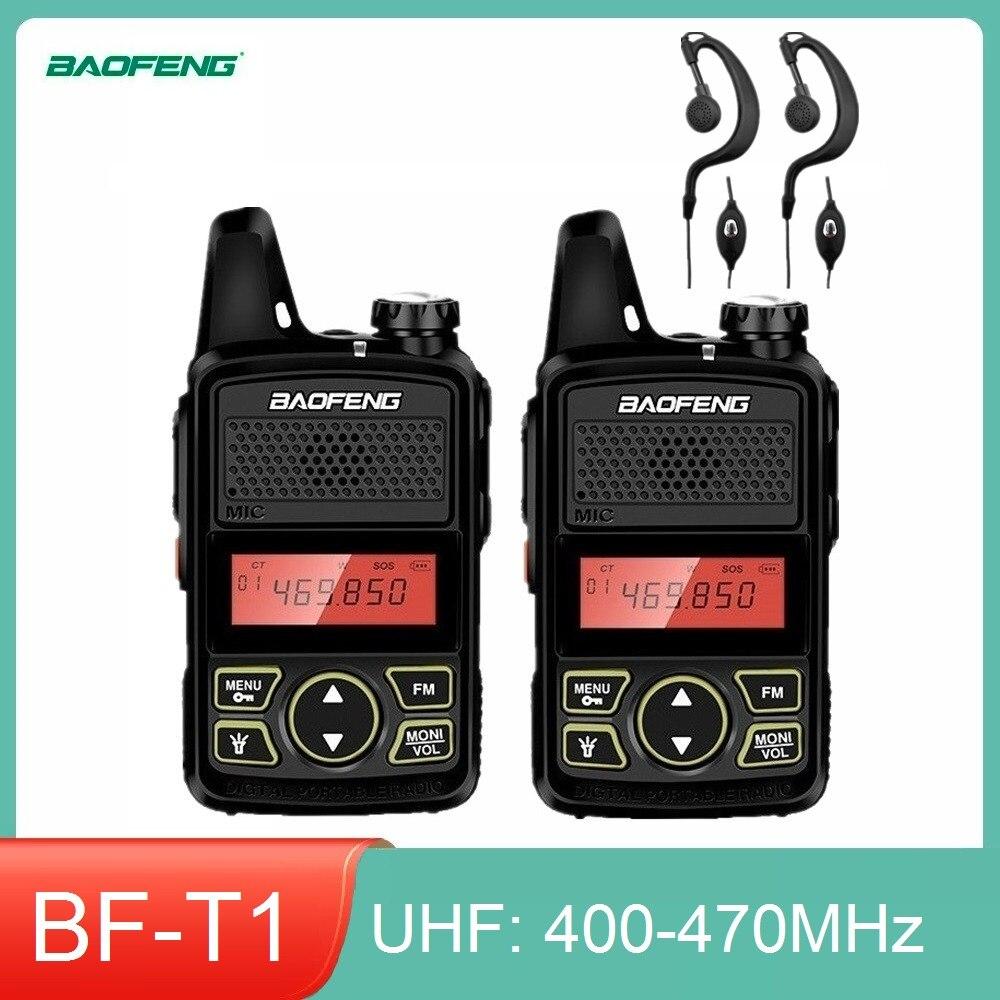 1/2/3/4/5pcs BAOFENG BF-T1 Mini Walkie Talkie UHF400-470MHz Ham Radio Station Kids Cb Radio Amateur Baofeng T1 Transceiver bf t1