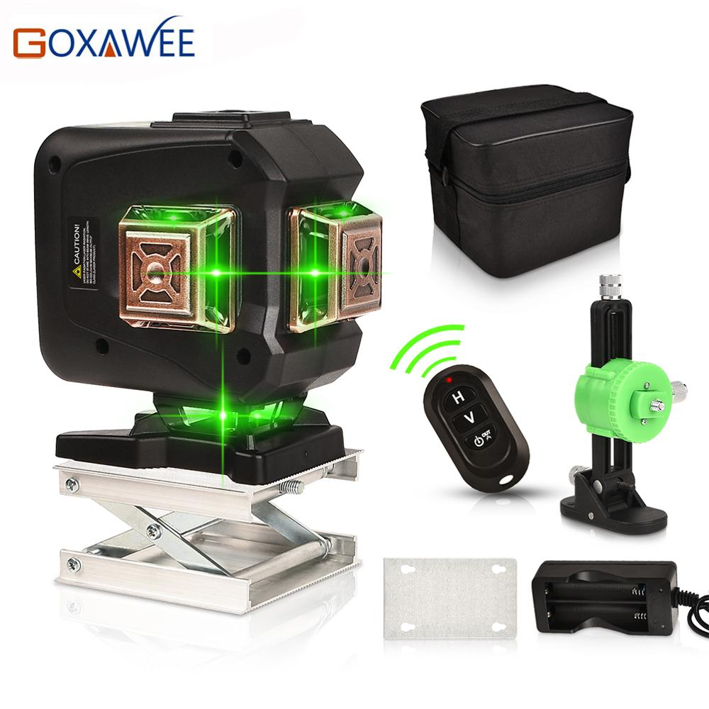 GOXAWEE Green Laser Level 12 Lines 3D Self-Leveling 360 Cross Line Horizontal And Vertical Auto Lazer Level Powerful Green Beam 12 lines 360 3d green red laser level vertical and horizontal auto self leveling cross line purple coating laser