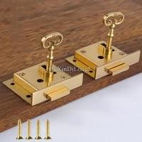 brand new 2pcs european pure brass drawer locks antique hidden cupboard desk file cabinet locks furniture locks key