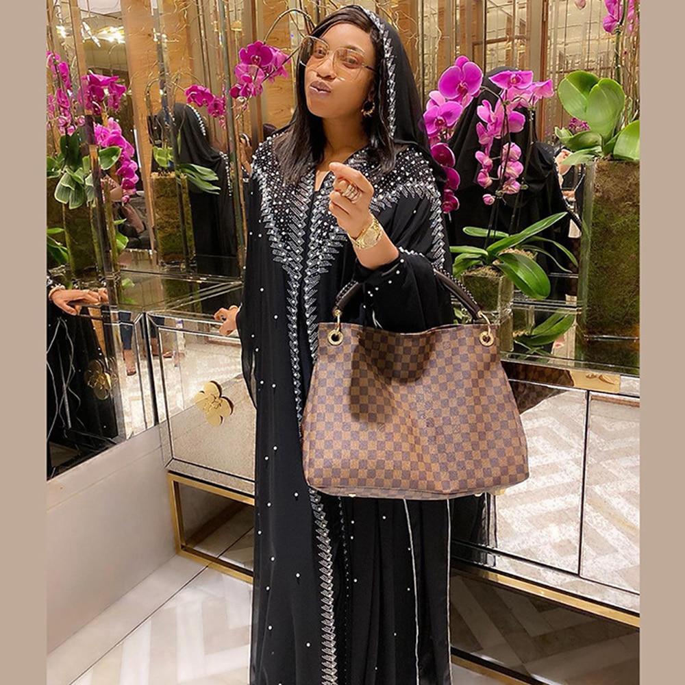 MD Muslim Kaftan Abaya Dress Kimono Women Dubai Open Abayas Turkish Stones Chiffon Hooded Dress Elegant African Plus Size Boubou