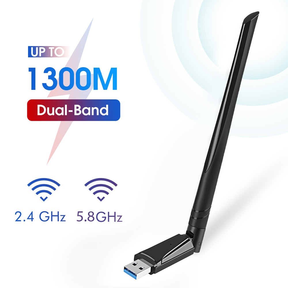 USB 3.0 واي فاي محول 1300Mbps هوائي ثنائي النطاق 2.4G/5.8G إيثرنت بطاقة الشبكة استقبال لاسلكي واي فاي USB دونغل لأجهزة الكمبيوتر المحمول