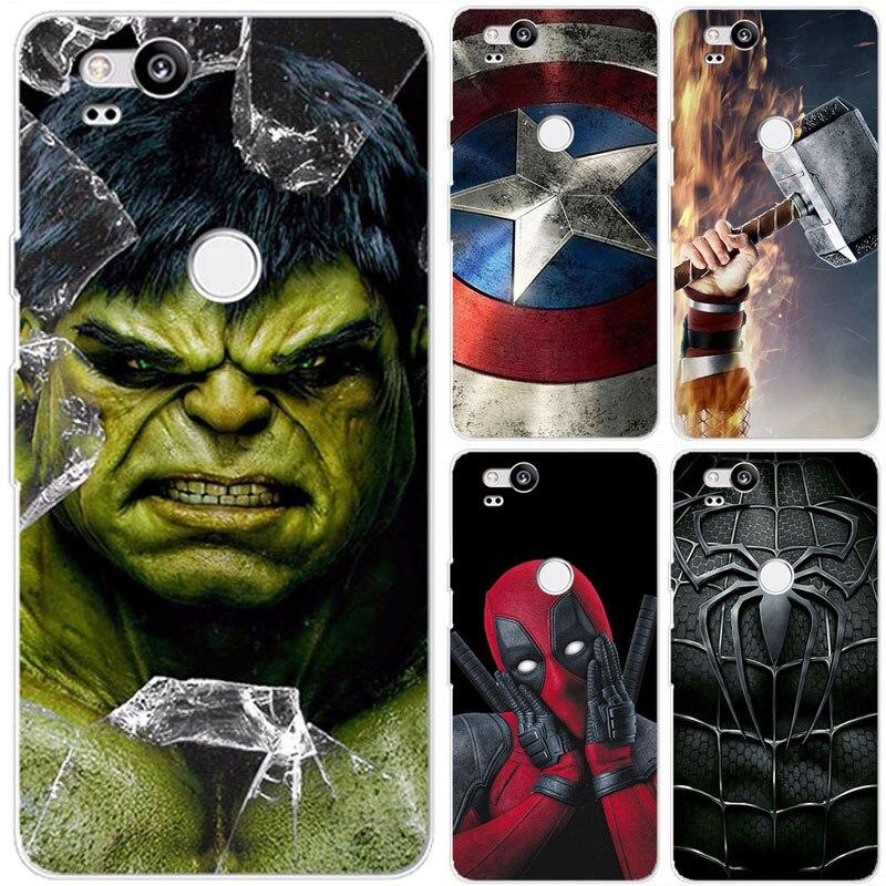 Super-herói caso de telefone capa para google pixel 2 pixel2 superman voltar capa sacos para google pixel2 pixel 2 fundas caso escudo