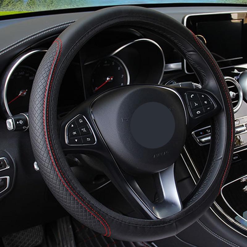 Car Steering Wheel Cover For Ford Focus 2 3 1 Fiesta Mondeo MK4 MK 4 Transit Fusion Kuga Ranger Mustang Armrest Ecosport