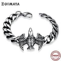 gomaya 316l stainless steel men%e2%80%99s bracelet punk gothic vintage eagle animal charm bracelets fashion jewelry to friends gift best
