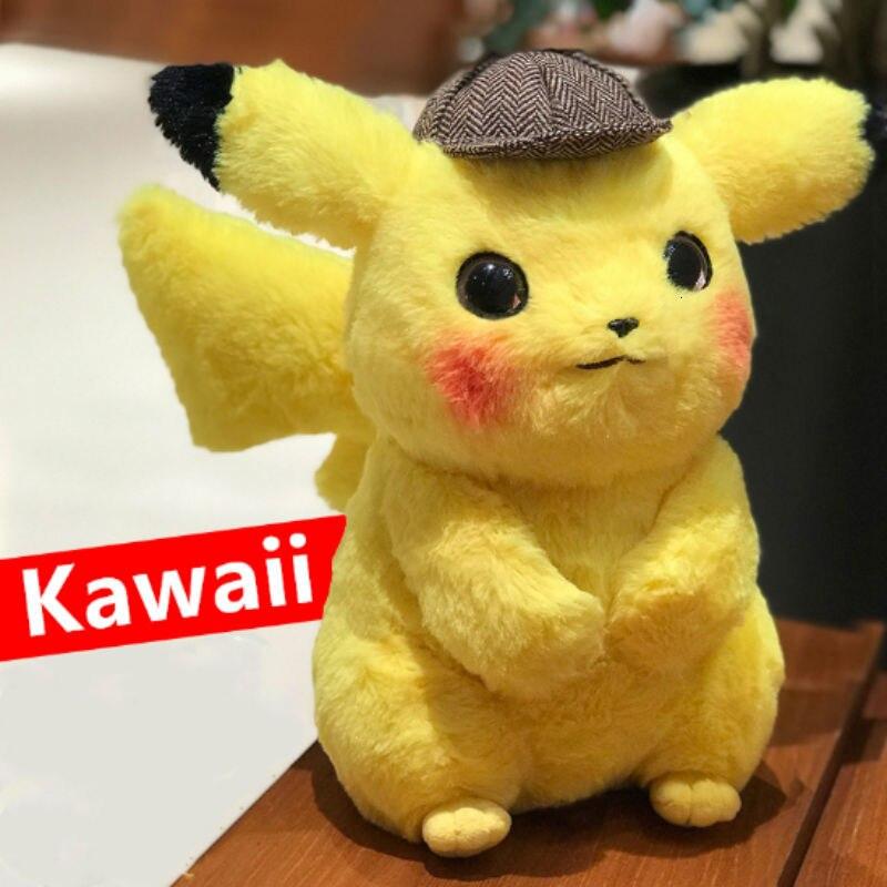 28 cm Pikachu Detective Japan Anime stuffed dolls & Plush kids Toys For Children pusheen stitch oyuncak sweetie animals