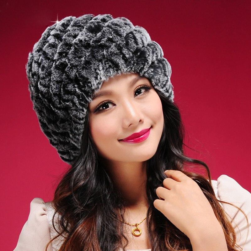 Модные плотные теплые вязаные меховые шапочки с помпоном, облегающие шапки, зимние теплые шапки для женщин, шапки с помпоном, шапки, Лыжные ш...
