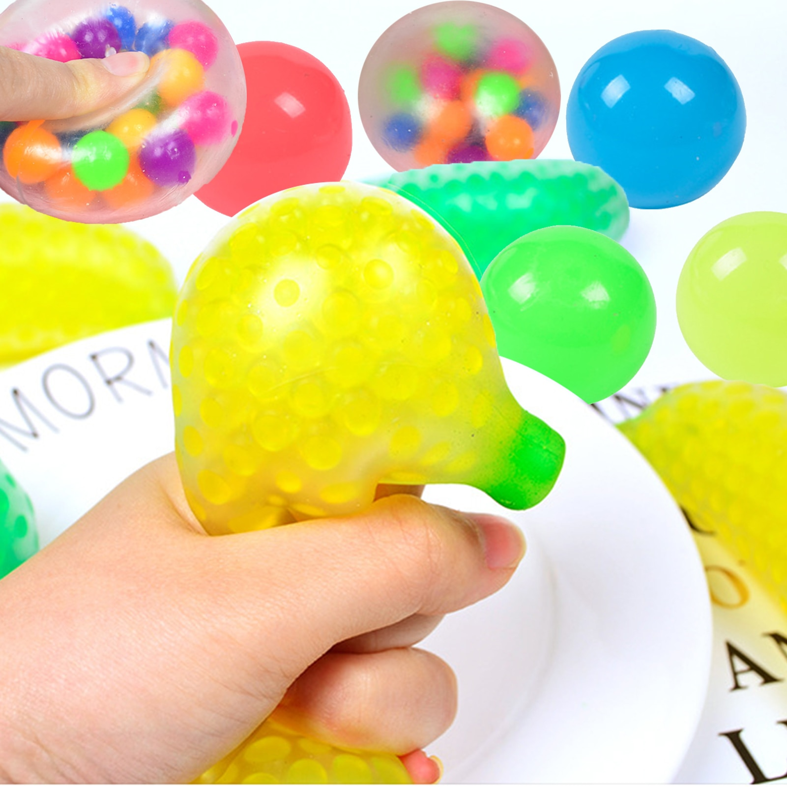 9PCS Stress Balls Toys Fruit Strawberry Banana Squeezing Sticky Decompression Ball Toys For Children Adults enlarge