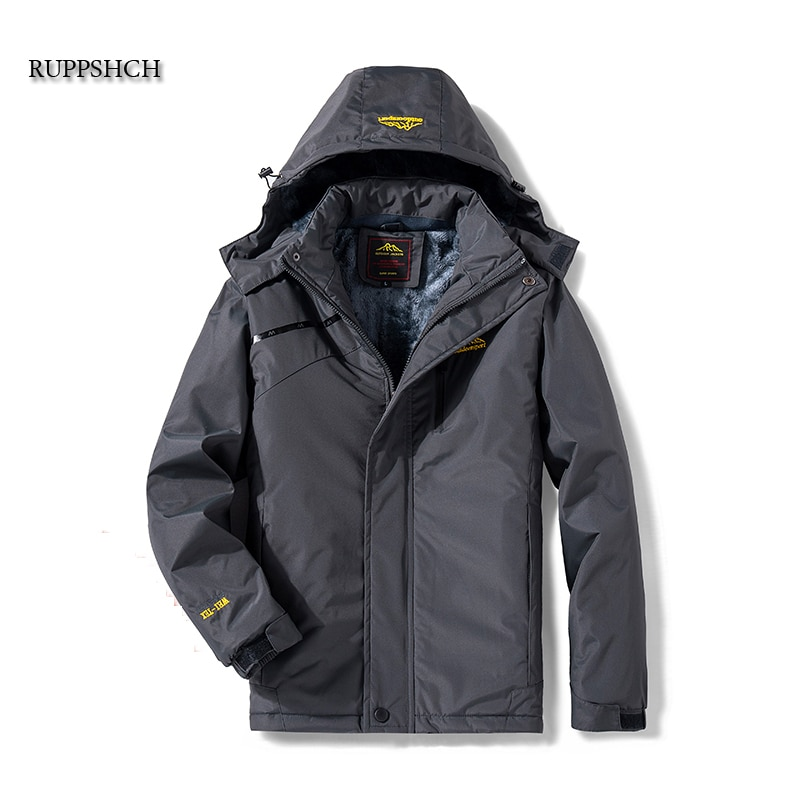 Winter Men Casual Windproof Waterproof Thicken Warm Jacket Men Zipper Hooded Fleece Long Sleeve Jack
