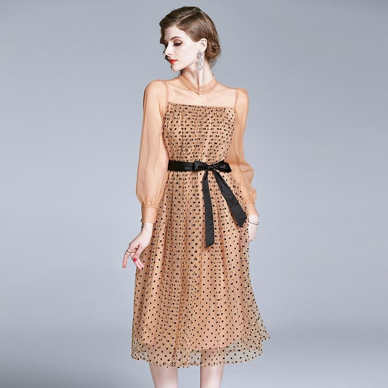 Vestidos de mujer verano 2020 ropa Europea moda Polka Dot Gauze Lantern Sleeve Mesh Party vestido elegante con cordones A-Line