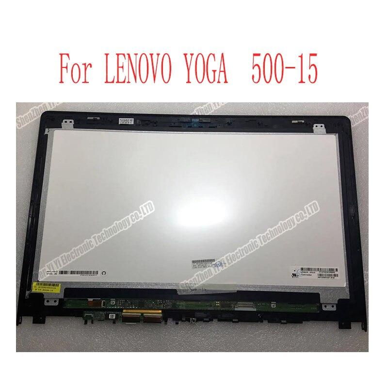 Envío Gratis 15,6 pulgadas FHD matriz para Lenovo Yoga 500 15 500-15ISK LCD digitalizador de pantalla táctil + bisel Asamblea Display flex 3 15