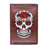 high quality leather cool punk skull flower printing travel passport cover id credit card case