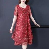 2021vintage loose xl 5xl plus size casual dress slim elegant party vestidos women summer red print chiffon mesh beach midi dress