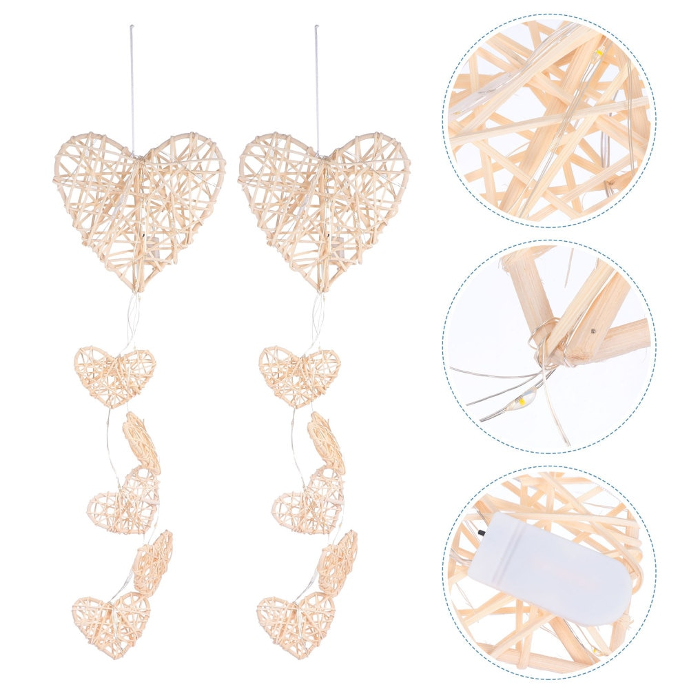 1Pc Rattan Heart Shape Wind Chime Rattan Night Light Ornament with Battery