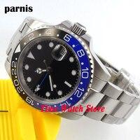 Parnis 40mm Luxury Quality Masculine black dial blue ceramic bezel GMT sapphire waterproof Automatic wrist watch men steel 268