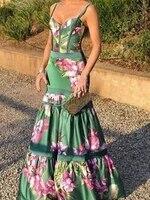 floral print mermaid dress women tunic long beach cover up maxi beach wear pareos de playa mujer women elegant party dress