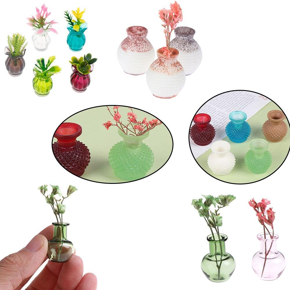 1/12 Dollhouse Furniture Miniatures Blue Glass Jug Glass Pot Vase 1/12 Scale Doll House Living Room Decoration