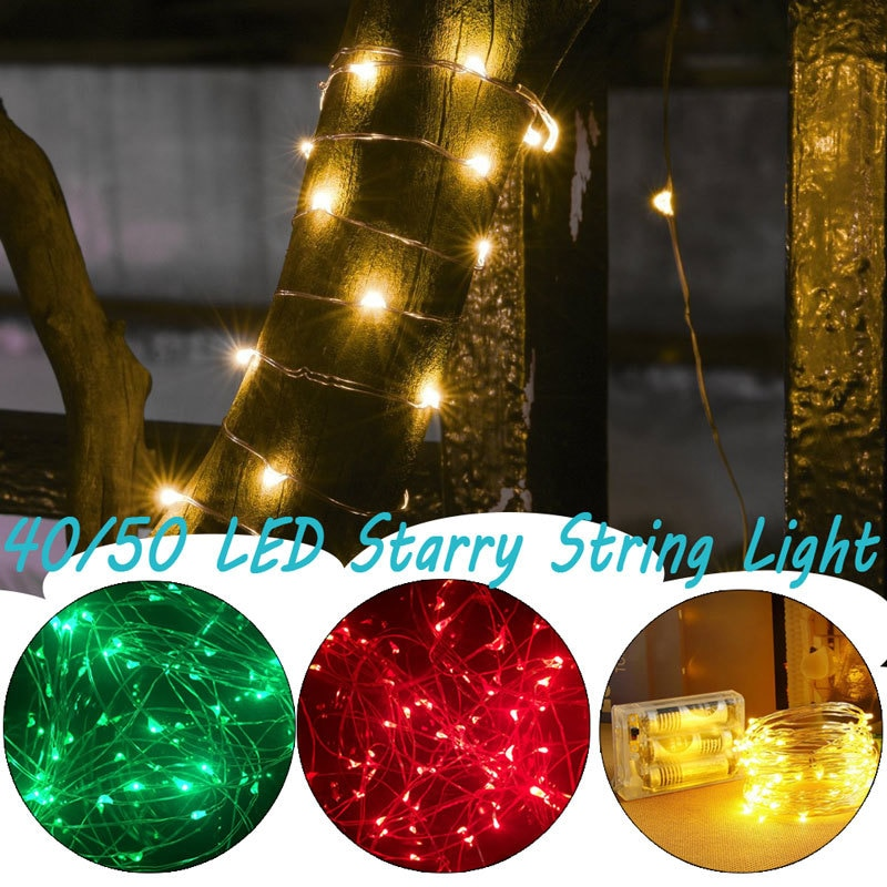 led strip 5m 10m led fairy light string outdoor garland christmas wedding party decoration usb battery operated silver copper 5m Copper Wire String Lights Led Outdoor Battery Operated Garland for Christmas Home Decoration Fairy Light Wedding Party Decor