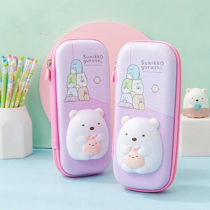 Silicone Cute White Bear Pencil Case Pen School Cases Student Big Storage Box Cosmetic Bag Ornaments Gifts For Kids