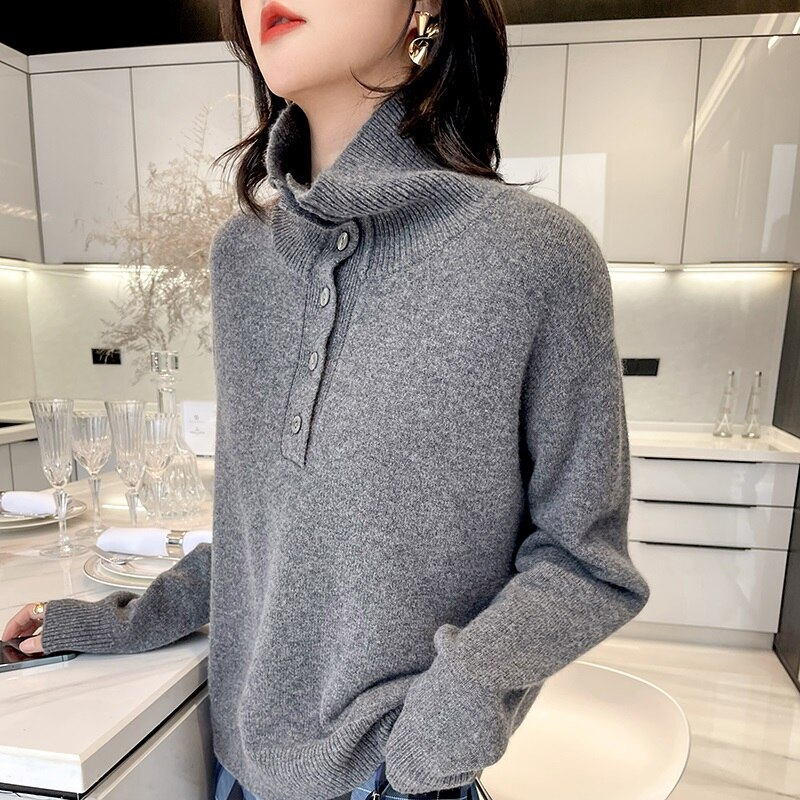 Women Knitwears 100% Pure Wool Knitted Pullovers LOOSE Turtleneck 6Colors Jumpers Female Winter Warm Thick Sweaters Clothes enlarge