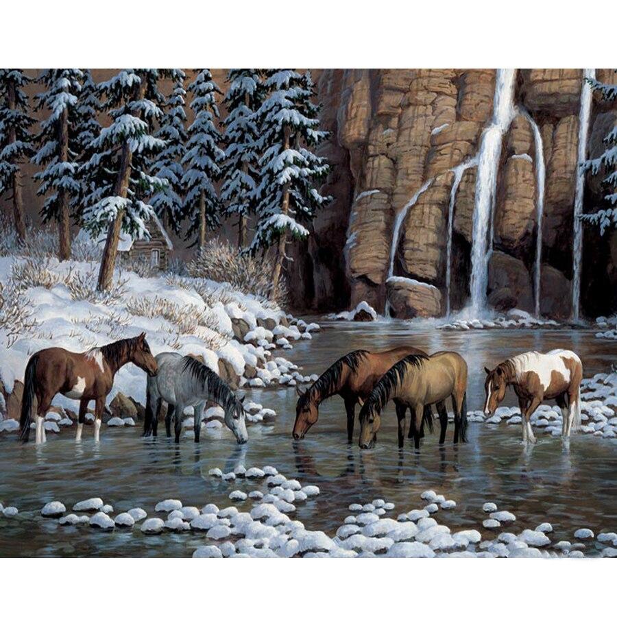 5D diy caballo pintura de diamante, bordado en diamante paisajístico cascada paisaje punto de cruz completo Diamante de imitación mosaico decoración para el hogar regalo