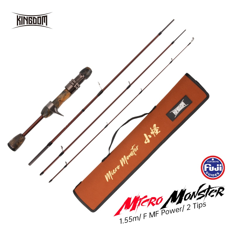 Kingdom MicroMonster Trout Rod 1.55m 3 Section Casting Spinning FUJI Guide UL Light Travel Pole Stream Ejection Fishing Lure Rod enlarge