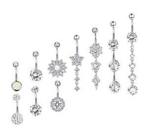 New Zircon Fashion Navel Piercing Surgical Stainless Steel Star Ball Belly Button Rings Belly Piercings Dangled Body Jewel
