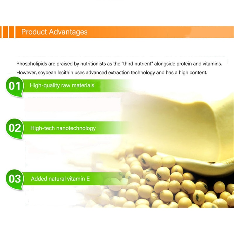 Soy Lecithin Capsules 100 Capsules/Bottle With Lecithin Vitamin E To Improve Blood Lipid Healthy Food Suitable For The Elderly