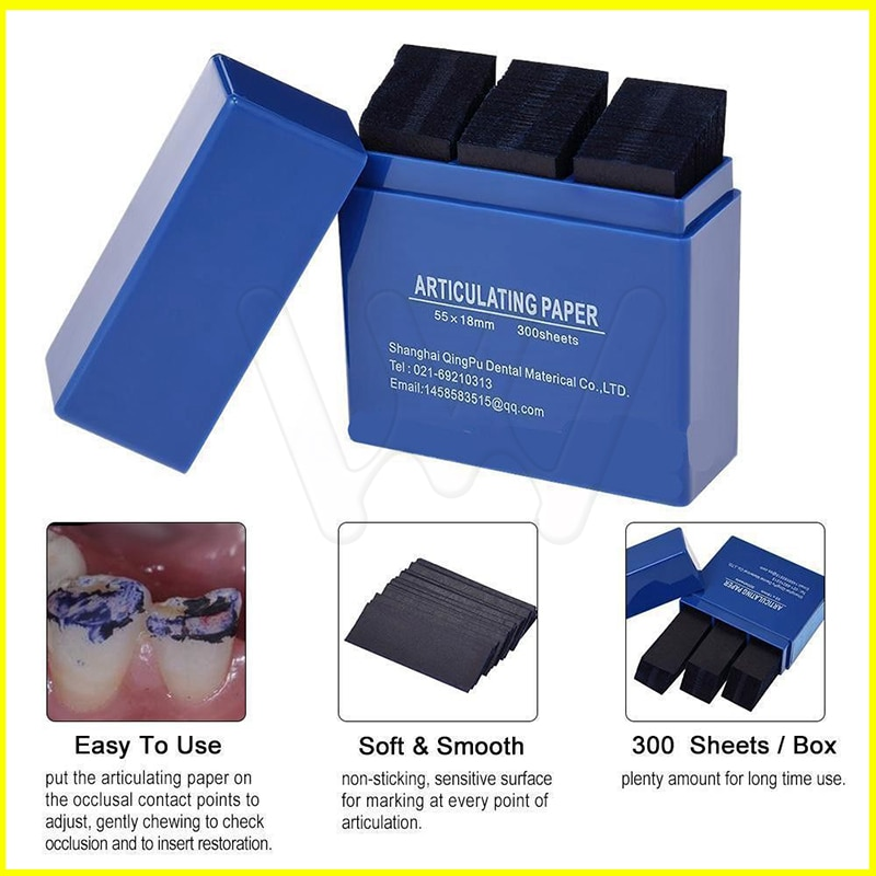 Dental Bausch Articulating Paper Double Sided Blue 300 Strips 200 Micron
