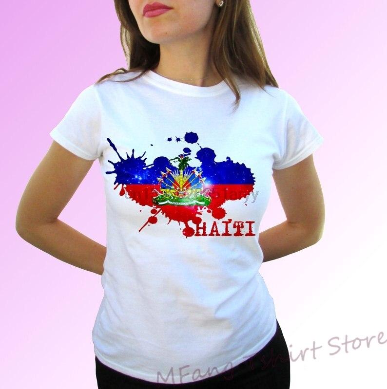 Republiek Haïti Vlag Wit T-shirt Top Korte Mouwen Mens Womens Kids Baby Alle Maten! 100% Katoen O-hals T-shirts
