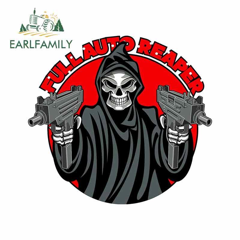 EARLFAMILY 13cm x 11.9cm For Grim Reaper Machine Gun Funny Stickers GTR Decoration Vintage Racing Decal Sticker DIY Car Styling