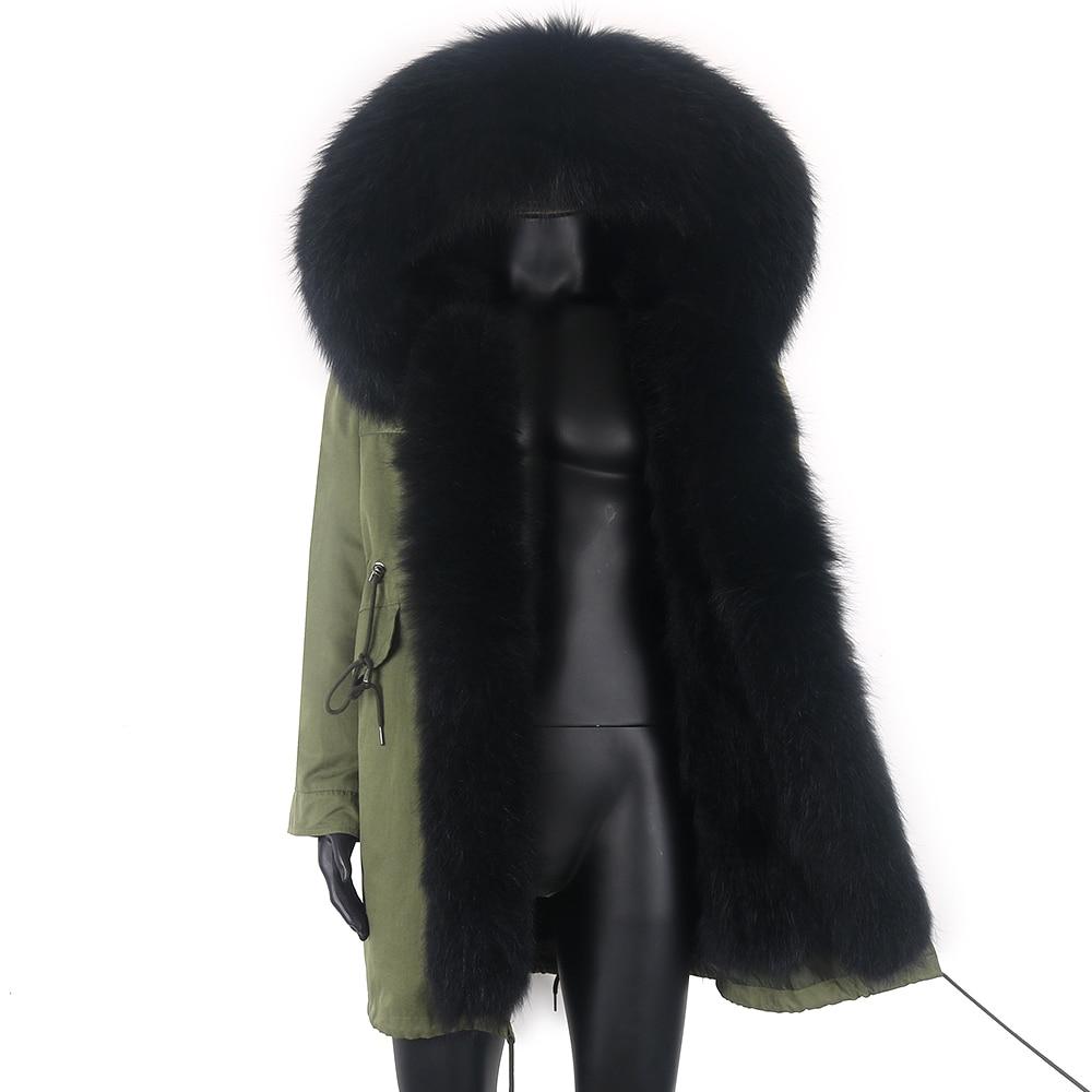 جاكت شتوي رجالي ضد الماء 2021 معطف طويل دافئ من الفرو الطبيعي سميك مع ياقة من الفرو الصناعي ملابس خارجية