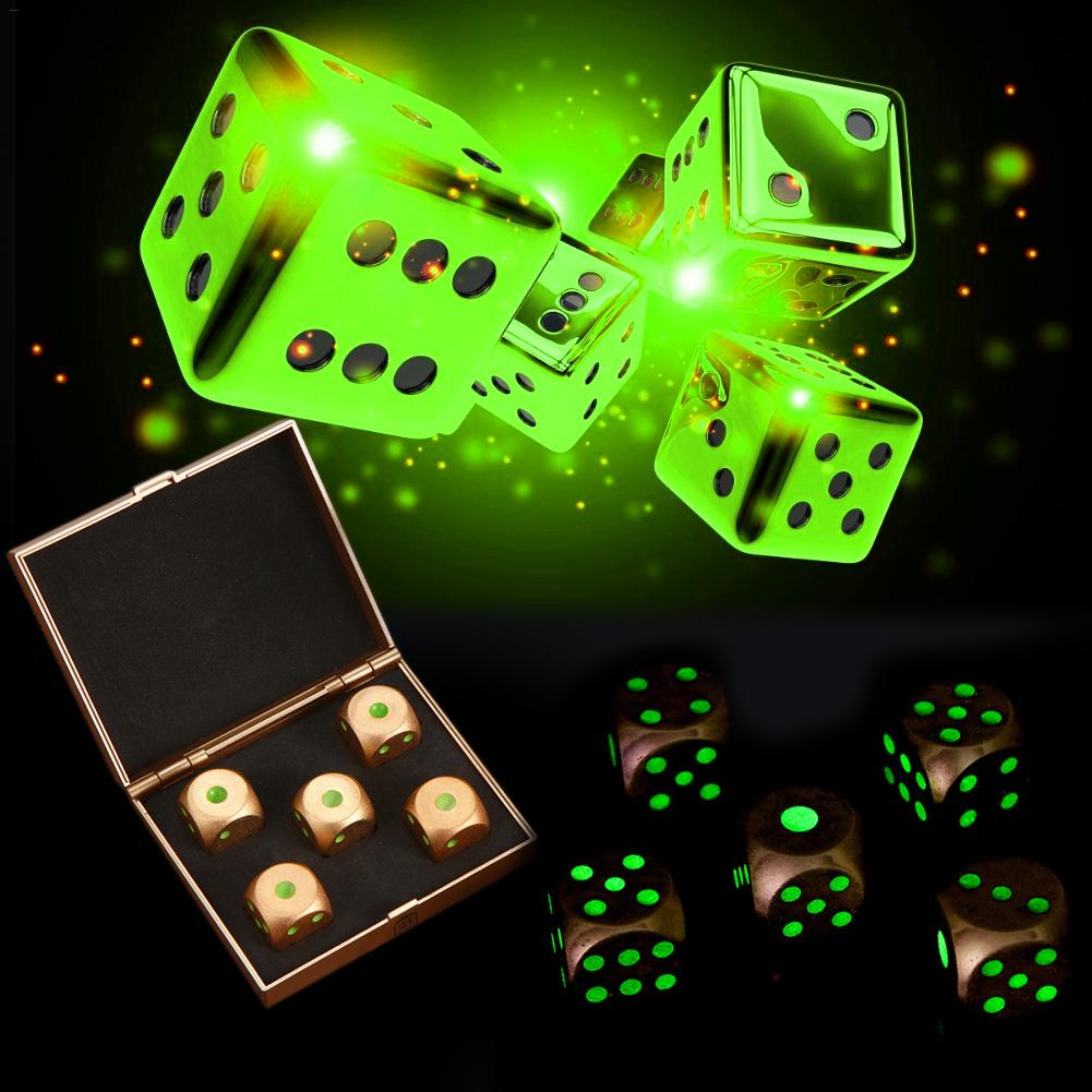5 stücke Metall Würfel Poker Party-Spiel Spielzeug Helle Tragbare Würfel Aluminium Legierung Solide Gürtel Lagerung Box Würfel Satz Mold großhandel