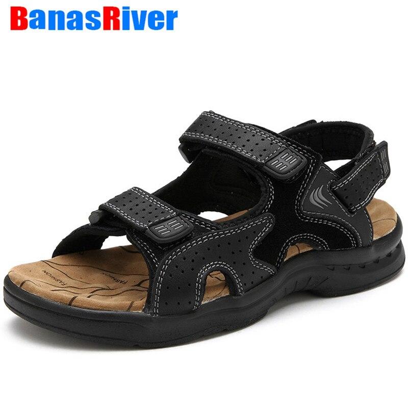 صنادل جلدية للرجال ، أحذية صيفية ، أحذية كلاسيكية ، أحذية خارجية ، مشي ، شاطئ