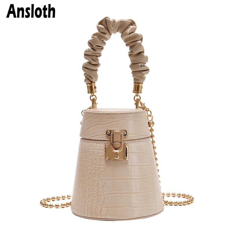 Ansloth Alligator Bucket Bags Chain Crossbody Bags For Women PU Leather Shoulder bag Exquisite Lock Bag Scarves Totes Bag HPS937
