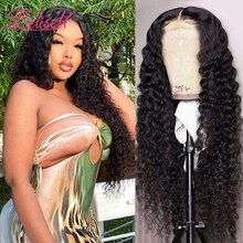 13x4 Deep Wave Frontal Wig HD Lace Front Human Hair Wigs For Women Water Wave 30 Inch Pre Plucked Br