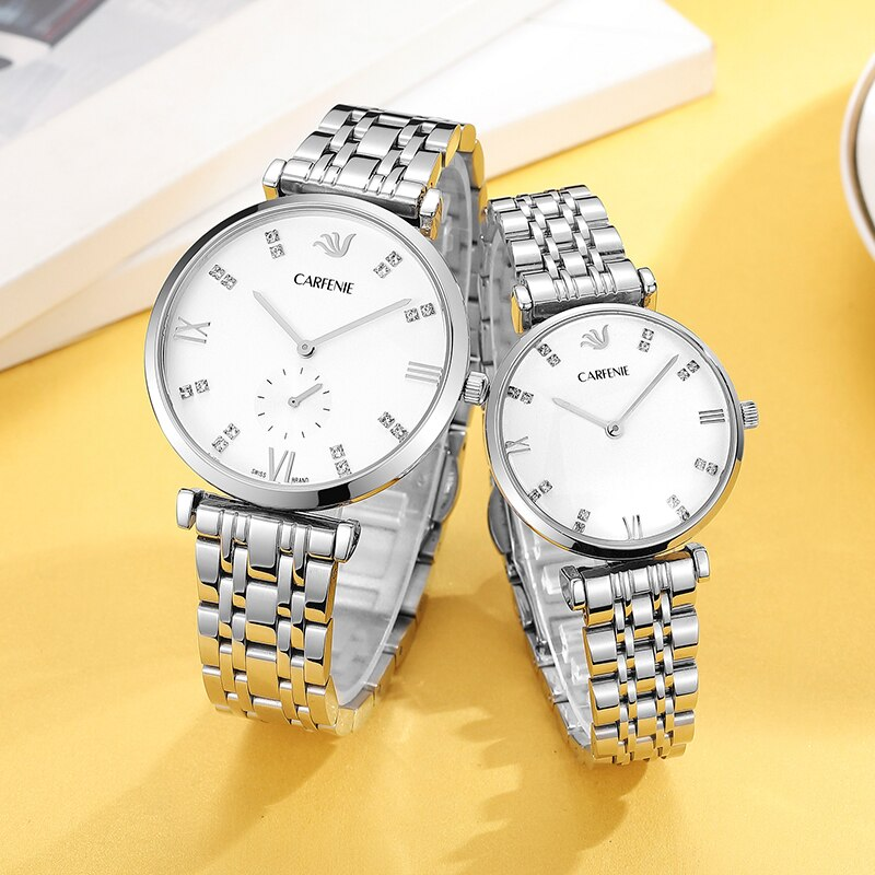 CARFENIE Fashion Lovers Watches Brand Luxury Automatic Quartz Watch Stainless Steel Waterproof Coupl