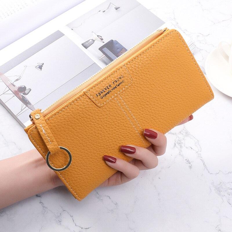 2021 Korean Fashion leather Women's purses Simple Solid long kawaii purse Multi Slots Wallet for cards Slim portefeuille femme