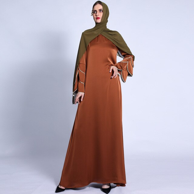 Ramadan Eid Silky Beading Cascading Abaya Hijab Muslim Dress female Caftan Turkish Islamic Kaftan Robe Musulman Abaya 2