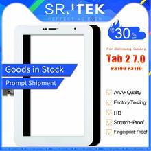 """Srjtek 7 """"para samsung galaxy tab 2 7.0 p3100 p3110 GT-P3100 sensor de vidro do painel da tela toque digitador tablet substituição pc"""