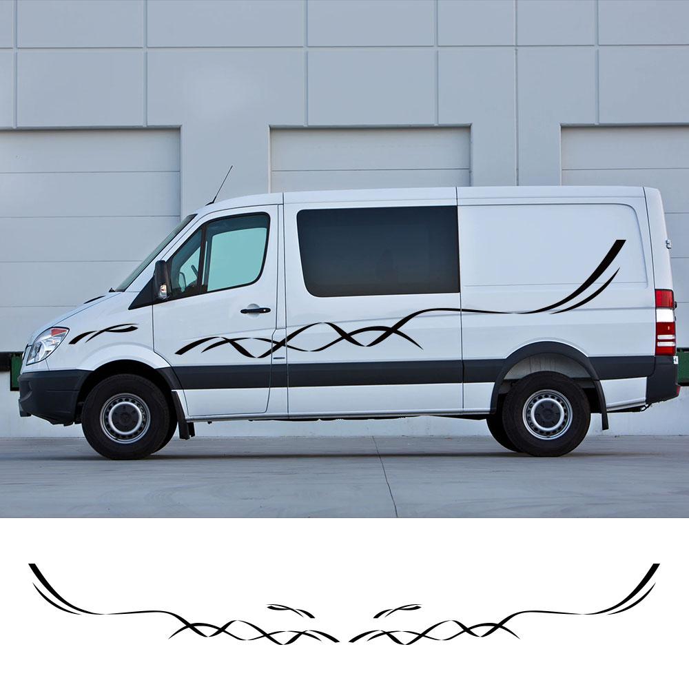 4 unids/lote coche tanto pegatinas laterales Camper Van deportes rayas gráficos calcomanías...