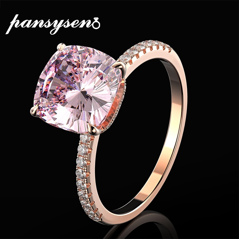 PANSYSEN 100% 925 فضة الوردي كوارتز Genstone خاتم 18K لون الذهب الوردي المرأة الجميلة مجوهرات خواتم الماس هدايا الزفاف