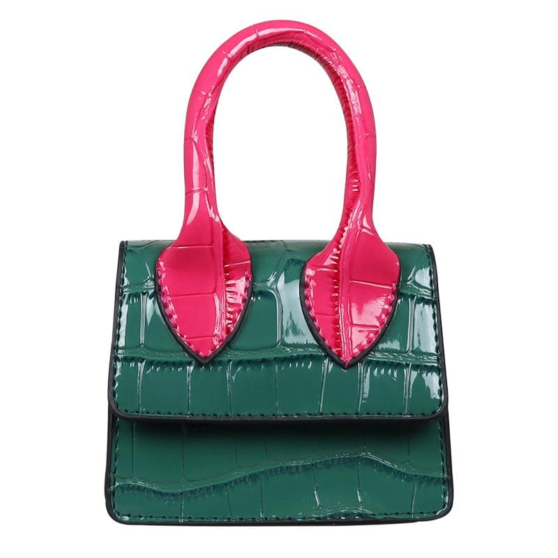 2021 الصيف المرأة حقيبة يد فاخرة صغيرة لون التباين حقائب كتف صغيرة التمساح نمط براءات الاختراع والجلود رفرف حقيبة مصمم