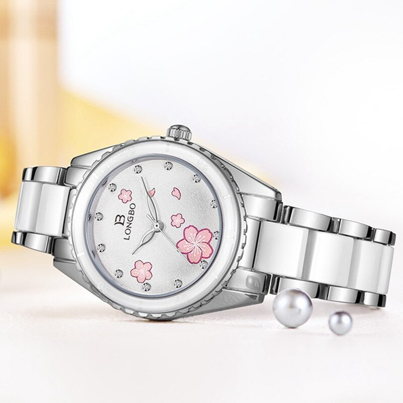 NEW Fashion Longbo Brand Women Luxury Watches Top pink Ceramic Quartz Watch Ladies Casual Simple Waterproof Wristwatch For Woman enlarge