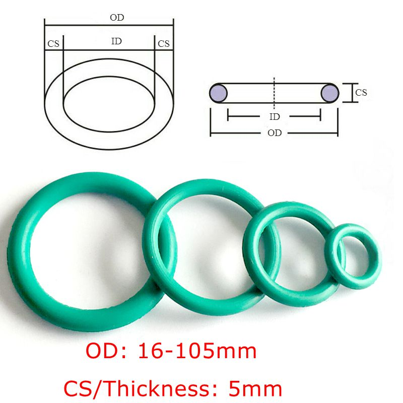 CS 5mm OD16-100mm Green  FKM Fluorine Rubber O Ring O-Ring Oil Sealing Gasket